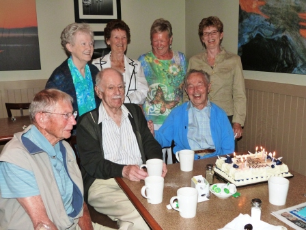 Rex celebrates his birthday with his wife, Trudie, and friends including Doug Booth and Bill Marr.