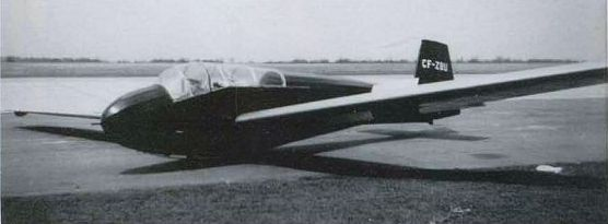 "The Schweizer TG-3, CF-ZBU, called ""the Bomber"" by The Four Soaring Club of Hamilton. NORMAN COLLECTION"