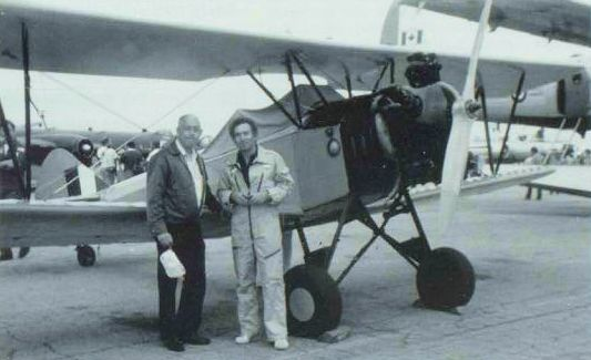 Russ Norman with Paul Soles, subsequent owner of the Fleet 16B Finch, CF-GDM, at a Hamilton International Air Show in the '70s. NORMAN COLLECTION