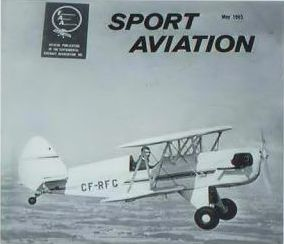 "The famous ""sport Aviation"" cover featuring Russ Norman's EAA Biplane, CF-RFG, the first Canadian Aircraft to be so recognized. J. McNULTY."