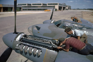 JH Mossie working-on-engine