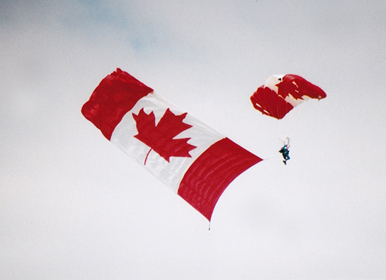A jumper with the Maple Leaf flag from the Hamilton Sport Parachute Club at Brantford Gord McNulty