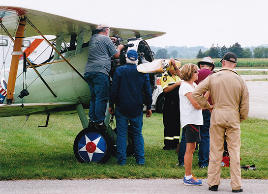 GWFM volunteers worked hard to repair the engine of the replica Nieuport when it failed to start G McNulty
