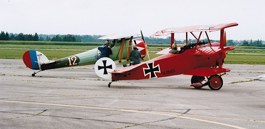 The Great War Flying Museums replica Fokker Dr 1 Triplane and Nieuport 28 were among four GWFM aircraft in the Brantford Air Show Gord McNulty
