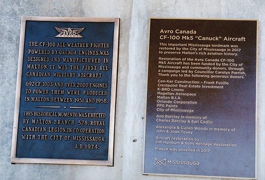 Two excellent plaques at the base of the CF 100 in the Legion Memorial Gardens in Malton